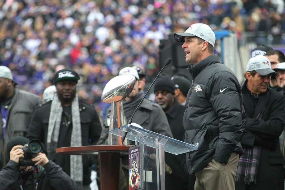 Baltimore Ravens coach John Harbaugh speaks to the cheering crowd at M&T Bank Stadium, during a celebration of the Ravens' win Sunday over the San Francisco 49ers in the NFL football Super Bowl, Tuesday, Feb. 5, 2013, in Baltimore. Lewis told fans the team had fulfilled a promise to go to New Orleans and win. (AP Photo/The News-Journal, Suchat Pederson) NO SALES Photo: Suchat Pederson