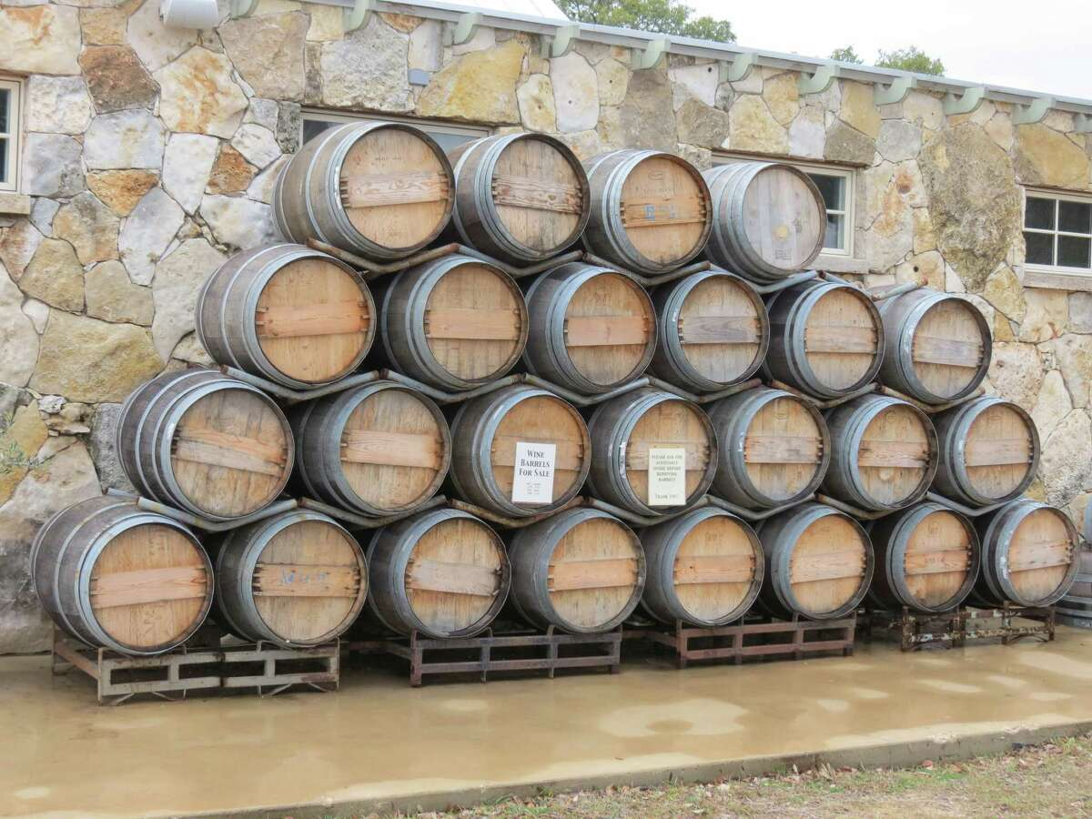 The Wimberley Valley Winery's tasting room will have been open for two years in April. The barrels outside the winery can be purchased in whole, half or one-quarter.