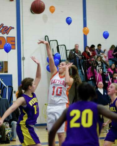 Danbury's Allie Smith (10) shoots a jump shot against Westhill Tuesday night at Danbury High School. Photo: Barry Horn