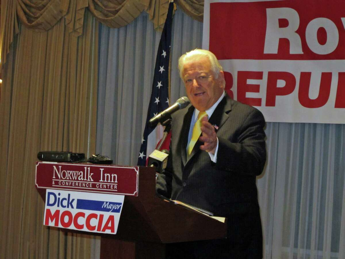 Norwalk mayor Richard Moccia tells supporters at the Norwalk Inn Tuesday that he will run for reelection this year.