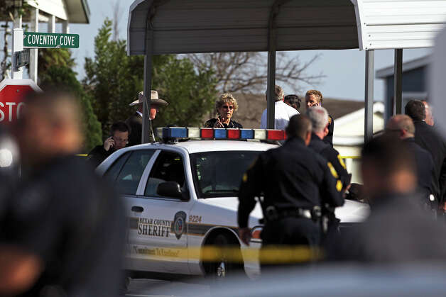 Bexar County Sheriff Susan Pamerleau was among the officers arriving early at the scene where a suspect was encountered in the Summit Ridge subdivision after a deputy was shot nearby. Photo: TOM REEL