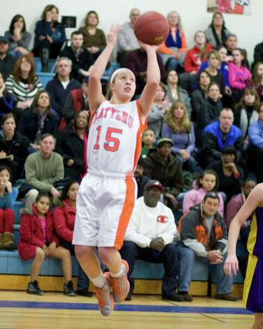 Danbury's Rebecca Gartner sinks a jump shot against Westhill Tuesday night at Danbury High School. Photo: Barry Horn