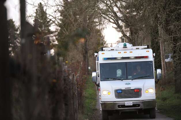 Sonoma County Sheriff's Detective Mobile Command Center arrives at the home of a triple homicide on Ross Station Road in Forestville, California. February 5, 2013. Photo: Erik Castro, Special To The Chronicle