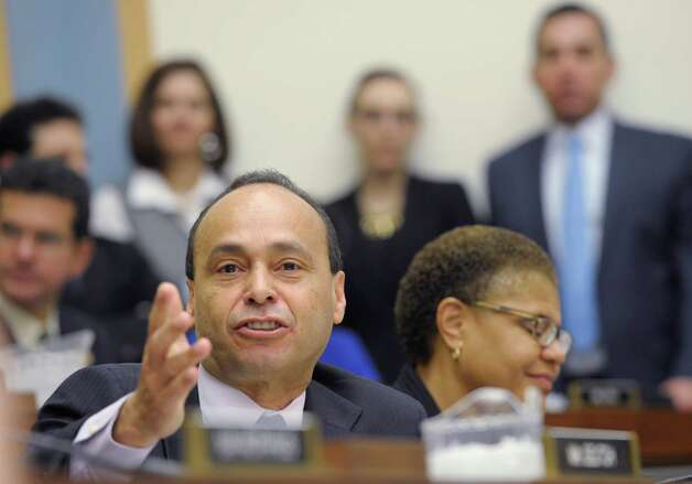 House Judiciary Committee member Rep. Luis Gutierrez, D-Ill., gives his opening remarks on Capitol Hill in Washington, Tuesday, Feb. 5, 2013, during the committee's hearing on America's Immigration System: Opportunities for Legal Immigration and Enforcement of Laws against Illegal Immigration.  (AP Photo/Susan Walsh) Photo: Susan Walsh