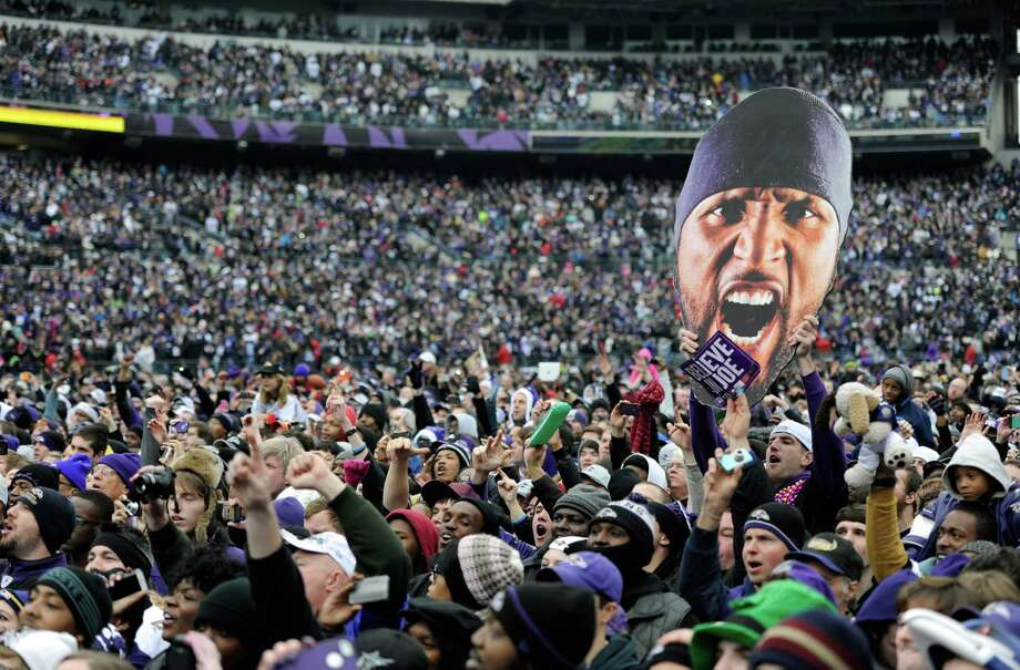 Retiring linebacker Ray Lewis loomed large as Ravens fans packed M&T Bank Stadium on Tuesday as part of the team's celebration of its Super Bowl victory over the 49ers. Photo: Steve Ruark, FRE / FR96543 AP