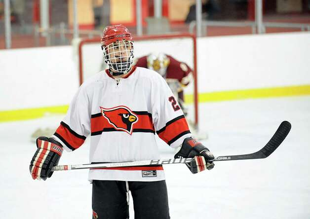 Matt Lodato # 23 of Greenwich during the boys high school ice hockey game between St. Joseph High School and Greenwich High School at Hamill Rink in Byram, Tuesday night, Feb. 5, 2013. St. Joseph defeated Greenwich, 5-2. Photo: Bob Luckey / Greenwich Time