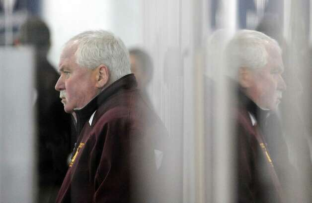 St. Joseph boys ice hockey coach Marty Crouse during the boys high school ice hockey game between St. Joseph High School and Greenwich High School at Hamill Rink in Byram, Tuesday night, Feb. 5, 2013. St. Joseph defeated Greenwich, 5-2. Photo: Bob Luckey / Greenwich Time