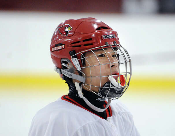 Naoya Fukuchi # 13 of Greenwich during the boys high school ice hockey game between St. Joseph High School and Greenwich High School at Hamill Rink in Byram, Tuesday night, Feb. 5, 2013. St. Joseph defeated Greenwich, 5-2. Photo: Bob Luckey / Greenwich Time