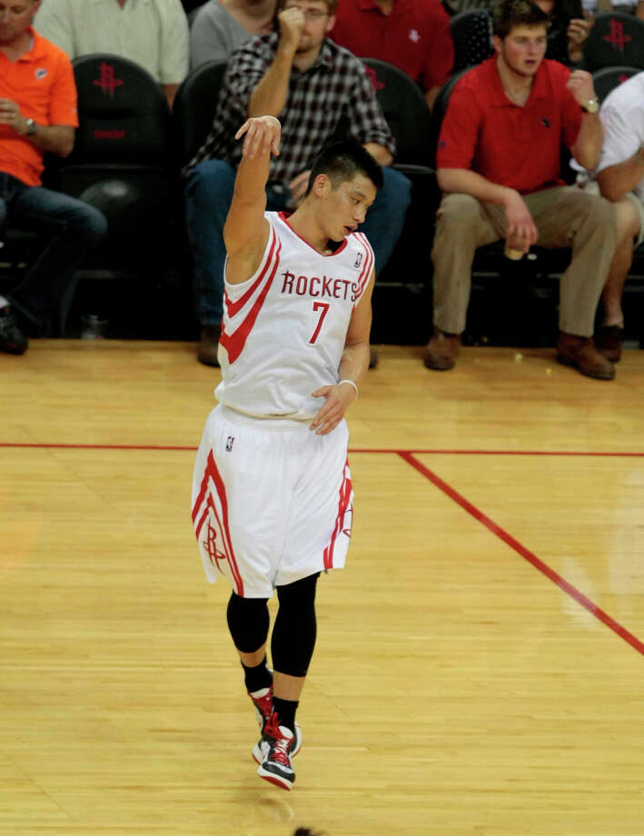 Feb. 5: Rockets 140, Warriors 109Rockets point guard Jeremy Lin shows off his shooting stroke after making a 3-pointer. Photo: Billy Smith II / © 2013 Houston Chronicle