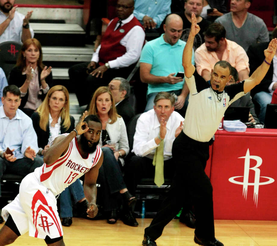 Rockets guard James Harden celebrates a made 3-pointer. Photo: Billy Smith II / © 2013 Houston Chronicle