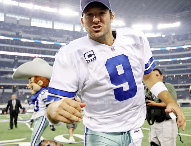 Dallas quarterback Tony Romo reacts after the game with the Seattle Seahawks Sunday, Nov. 6, 2011, at Cowboys Stadium in Arlington. The Cowboys won 23-13. Photo: EDWARD A. ORNELAS, SAN ANTONIO EXPRESS-NEWS / © SAN ANTONIO EXPRESS-NEWS (NFS)