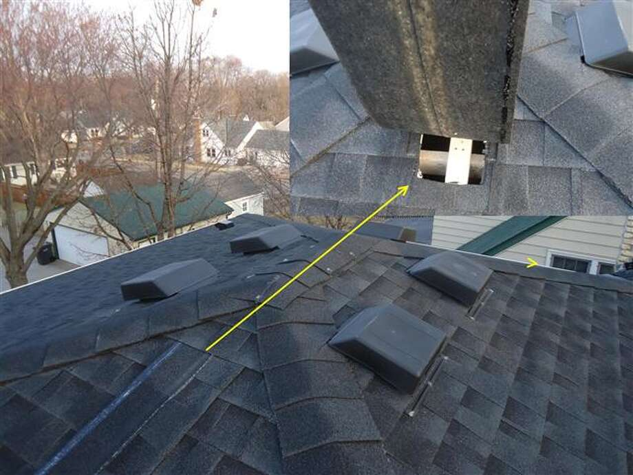 Have a gaping hole in the roof vent? Cover it up with a thin strip of material and hope the home inspector doesn't notice. Photo via Zillow Blog.