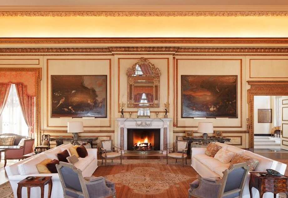 Seating area surround a fireplace