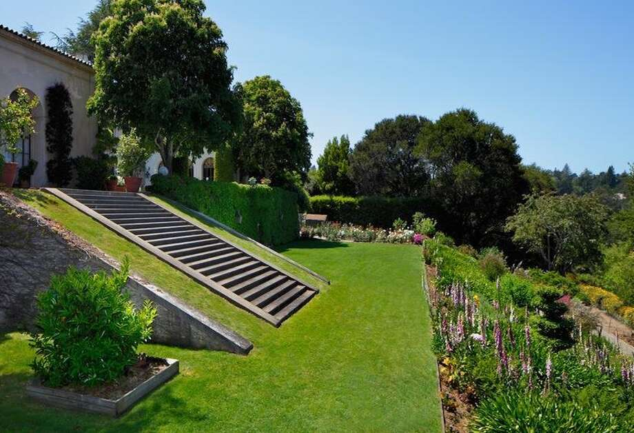 Steps down to the formal gardens