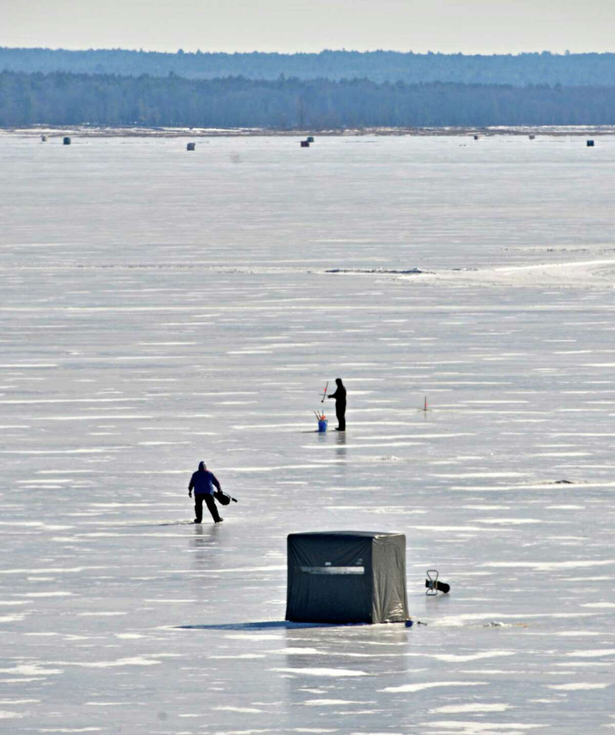 Ice fisherman try their luck on the Great Sacandaga Lake Tuesday Feb. 5, 2013. (John Carl D'Annibale / Times Union)
