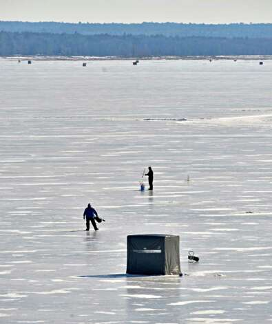 Ice fisherman try their luck on the Great Sacandaga Lake Tuesday Feb. 5, 2013. (John Carl D'Annibale / Times Union) Photo: John Carl D'Annibale