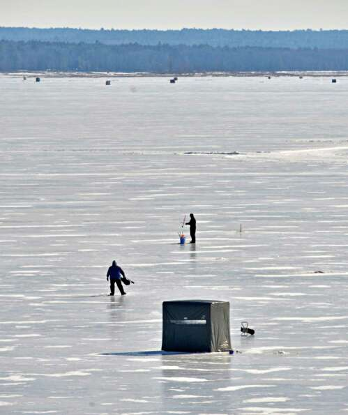 Ice fisherman try their luck on the Great Sacandaga Lake Tuesday Feb. 5, 2013. (John Carl D'Annibale