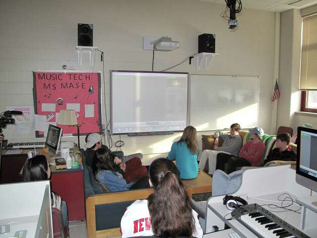 Students listen in Ms. Mase's music production class at New Canaan High School on Feb. 1, 2013. Photo: Tyler Woods