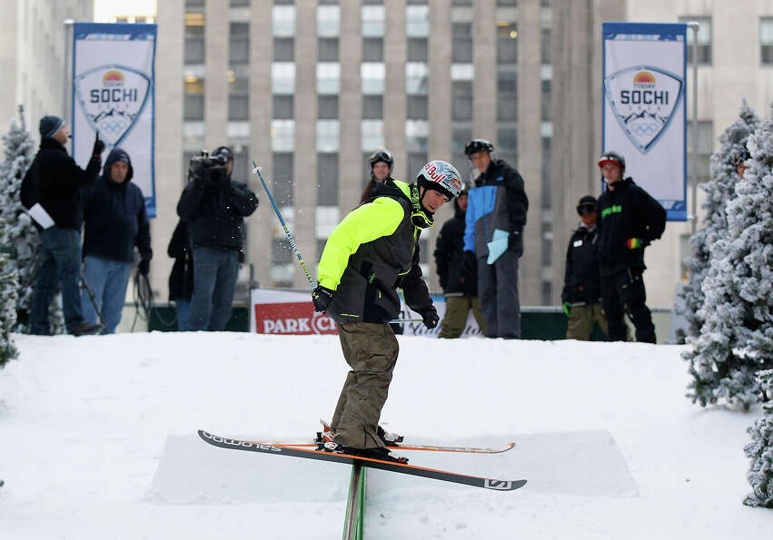 Team USA 2014 Olympic hopeful Bobby Brown demonstrated slopestyle skiing during the Today Show One Y