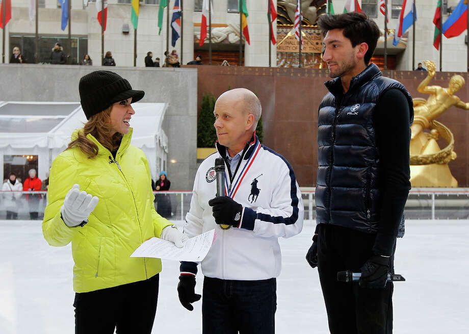 Today Show host Natalie Morales interviews Figure skating legend Scott Hamilton and Team USA 2014 Olympic figure skating hopeful Evan Lysacek during the Today Show One Year Out To Sochi 2014 Winter Olympics celebration at NBC's TODAY Show on February 6, 2013 in New York City. Photo: Mike Stobe / 2013 Getty Images
