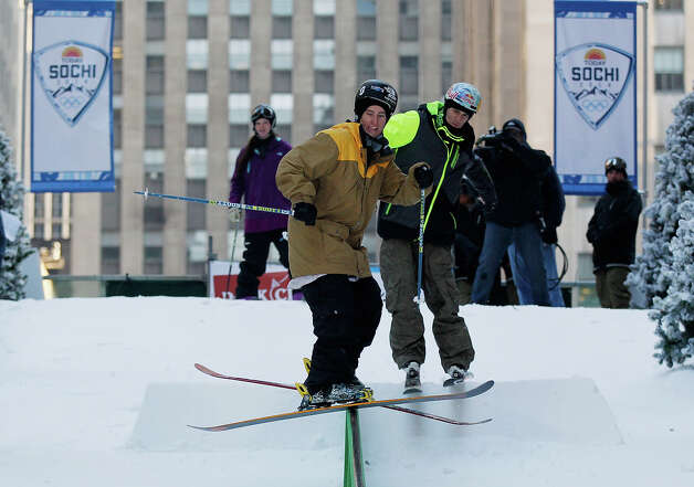 Team USA 2014 Olympic hopeful Tom Wallisch demonstrated slopestyle skiing during the Today Show One Year Out To Sochi 2014 Winter Olympics celebration at NBC's TODAY Show on February 6, 2013 in New York City. Photo: Mike Stobe / 2013 Getty Images