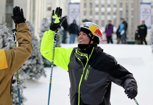 Team USA 2014 Olympic hopeful Bobby Brown high fives after demonstrated slopestyle skiing during the Today Show One Year Out To Sochi 2014 Winter Olympics celebration at NBC's TODAY Show on February 6, 2013 in New York City. Photo: Mike Stobe / 2013 Getty Images
