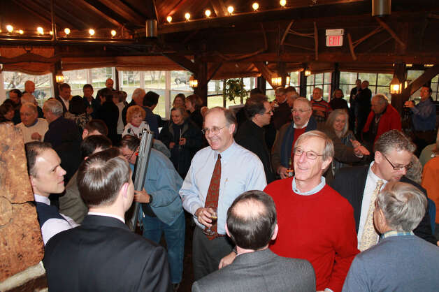 Y supporters gather at the Red Barn for a reception following the groundbreaking ceremony