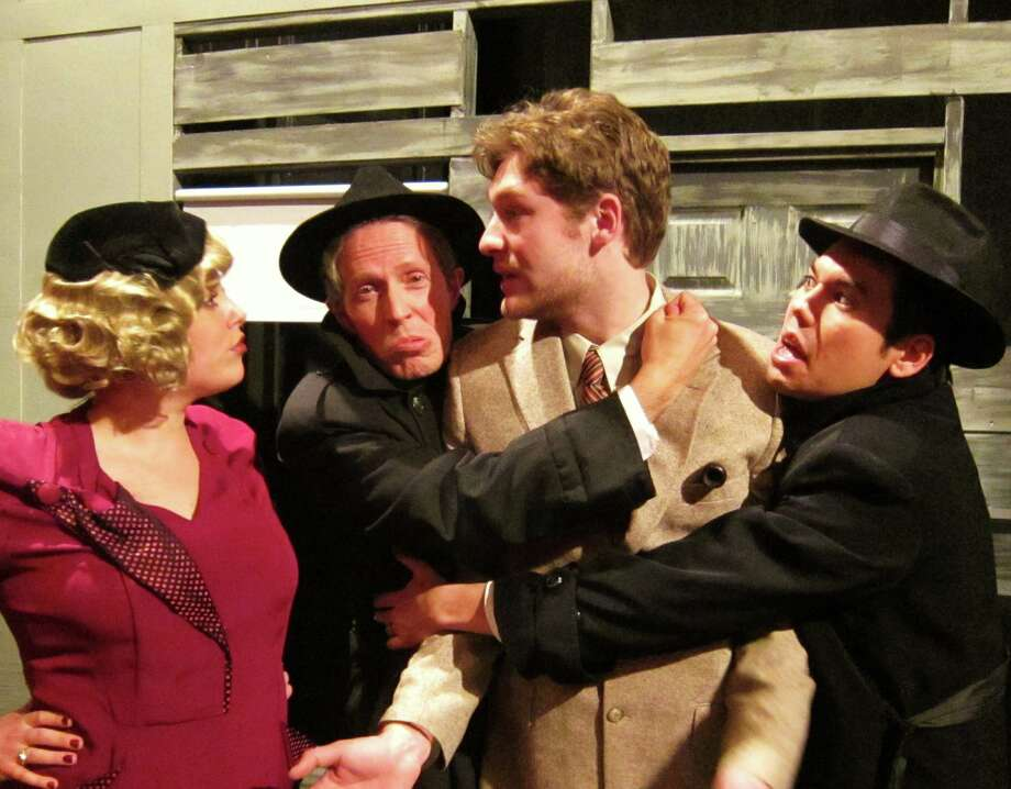 The cast of Home Made Theater?s staging of ??The 39 Steps?? features, from left, Molly McGrath, Alan Edstrom, Conrad Browne Lorcher and Ben Katagiri.