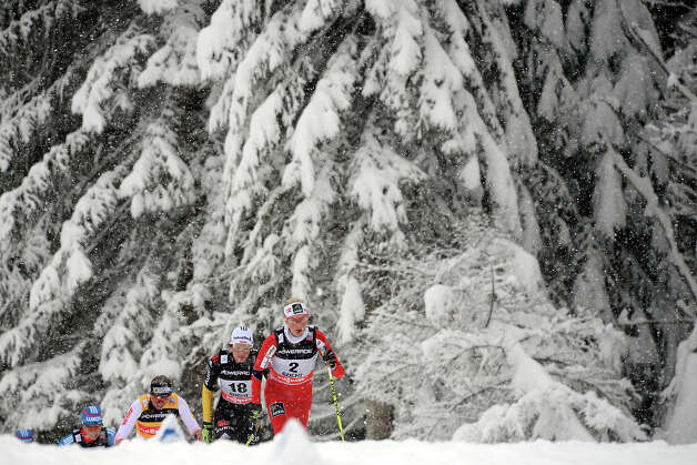 Norway's Kristin Stoermer Steira (L) and Germany's Nicole Fessel (2nd L) compete  during Ladies' 7,5 km classic + 7,5 km freestyle Skiathlon of FIS Cross Country skiing World Cup at Laura Cross Country and Biathlon Center in Russian Black Sea resort of Sochi on February 2, 2013. Norway's Kristin Stoermer Steira took the first place ahead of  Russia's Yulia Tchekaleva and Germany's Nicole Fessel. Photo: KIRILL KUDRYAVTSEV, AFP/Getty Images / 2013 AFP