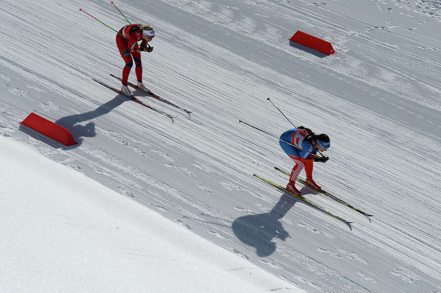 Athletes compete during 6 x 1,25 km Ladies' Classic Team Sprint of FIS Cross Country skiing World Cu