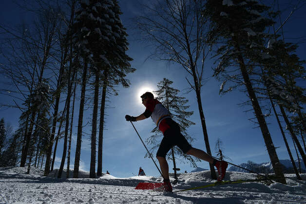 An athlete attends a training session at the Laura Cross Country and Biathlon Center during FIS Cross Country skiing World Cup at in Russian Black Sea resort of Sochi on February 3, 2013. Photo: KIRILL KUDRYAVTSEV, AFP/Getty Images / 2013 AFP