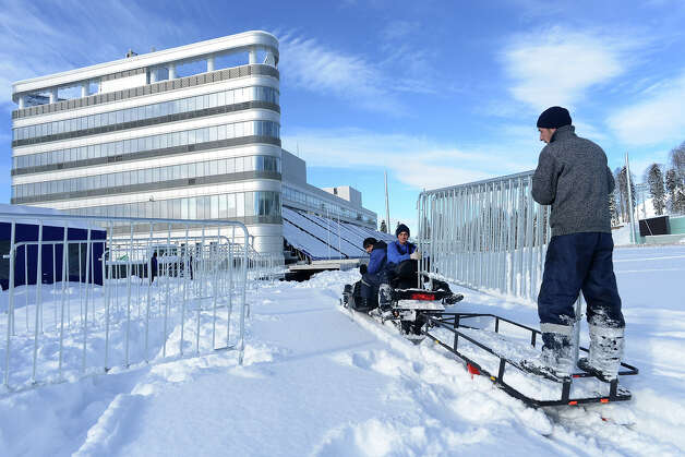 A workers prepare the shooting range of the Laura Cross Country and Biathlon Center in Russian Black Sea resort of Sochi on February 3, 2013. Photo: KIRILL KUDRYAVTSEV, AFP/Getty Images / 2013 AFP