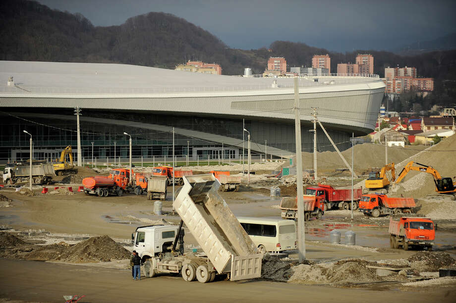 A picture taken on January 23, 2013, shows a general view of Speed Skating Stadium construction site in the Russian Black Sea resort of Sochi. One year before Russia kicks off the 22nd Winter Olympic Games on February 7, 2014, its host city Sochi is one of the world's biggest construction sites, with works proceeding on schedule but declared a disaster by environmentalists. Photo: AFP, AFP/Getty Images / 2013 AFP