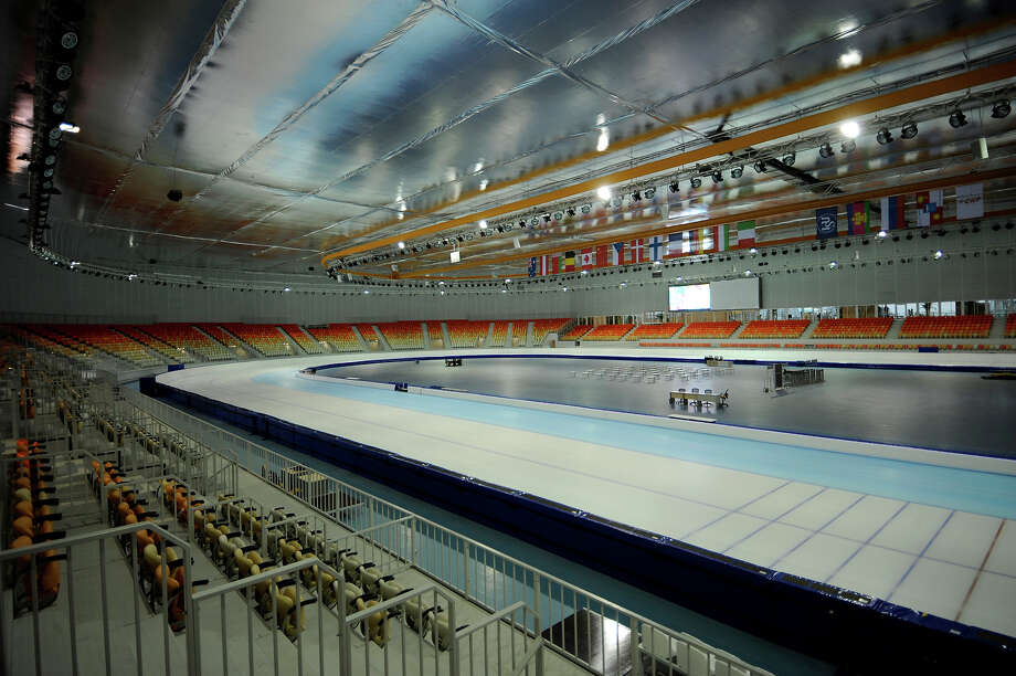 A picture taken on January 23, 2013, shows an inside view of the Bolshoi Ice Palace construction site at the Olympic Park in the Russian Black Sea resort of Sochi. One year before Russia kicks off the 22nd Winter Olympic Games on February 7, 2014, its host city Sochi is one of the world's biggest construction sites, with works proceeding on schedule but declared a disaster by environmentalists. Photo: AFP, AFP/Getty Images / 2013 AFP