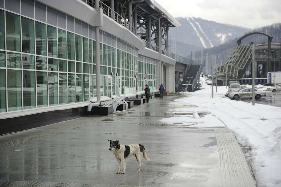 "A picture taken on January 24, 2013, shows a view of the new railway station ""Esto-Sadok"", between Adler and Krasnaya Polyana Olympic venues in the Russian Black Sea resort of Sochi. One year before Russia kicks off the 22nd Winter Olympic Games on February 7, 2014, its host city Sochi is one of the world's biggest construction sites, with works proceeding on schedule but declared a disaster by environmentalists. Photo: AFP, AFP/Getty Images / 2013 AFP"