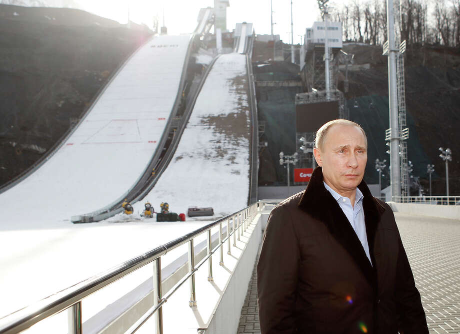 "Russia's President Vladimir Putin visits the ""RusSki Gorki"" Jumping Center at the Krasnaya Polyana resort near the Black Sea city of Sochi, on February 6, 2013. The complex is expected to host ski jumping and Nordic combined competitions during Sochi 2014 Winter Olympic Games next February, according to organizers. Photo: SERGEI KARPUKHIN, AFP/Getty Images / 2013 AFP"