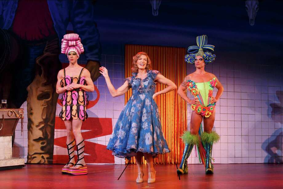 "Wade McCollum as Mitzi, Scott Willis as Bernadette and Bryan West as Felicia in the number ""I Love the Nightlife"" in ""Priscilla Queen of the Desert"" (Joan Marcus)"