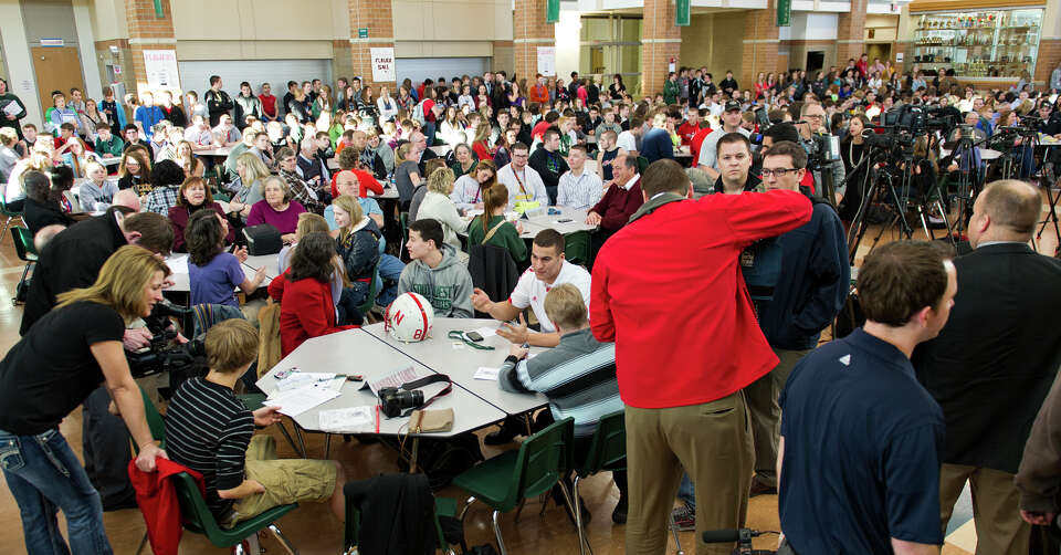 A big crowd of family, friends and students showed up on National Letter of Intent signing day at