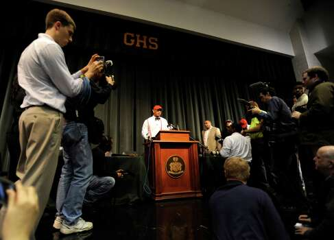 Grayson High School football player Robert Nkemdiche, the nation's top recruit, announces his intent to play college football for Ole Miss during a signing day ceremony at his high school auditorium in Grayson, Ga., Wednesday Feb. 6, 2013. (AP Photo/David Tulis) Photo: Dave Tulis, Associated Press / FR170493 AP