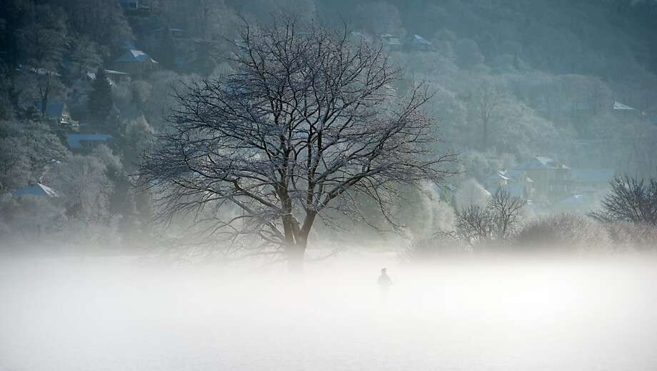 Misty morning workout: A woman jogs over snow-covered meadows on the banks of the Elbe River in Dresden, Germany. Photo: Arno Burgi, AFP/Getty Images