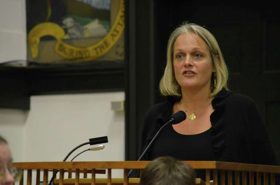 Julia Ford, co-chairman of the Middlesex Middle School PTO, discusses three line items she feels are critical in the proposed 2013-14 school budget, including money for non-fiction books, technology and shared math and literary specialists for the middle and high schools at a special Board of Education meeting, Tuesday, Feb. 5. Megan Spicer/Staff photo Photo: Contributed Photo