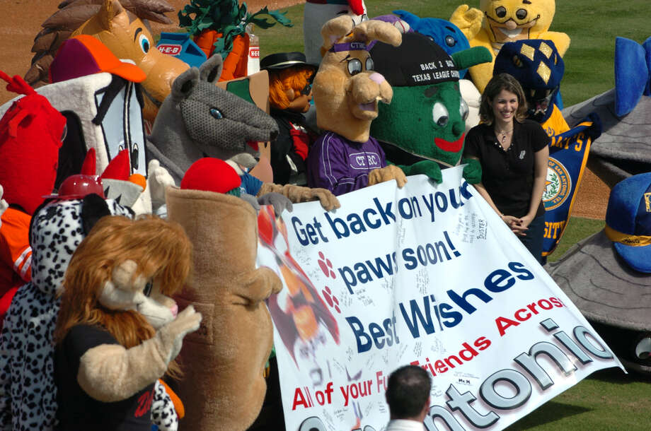 Area mascots held a press conference Feb. 20, 2004, at Nelson Wolff Stadium to show their support for Spurs' Coyote, Tim Derk, who suffered a stroke. Mascots are (clockwise from Puffy Taco): Henry the Puffy Taco (SA Missions), Darren the Lion (DARE program), Sparky (SAFD), Watershed Willie (SAWS), Buster (VIA), Mav (Madison H.S.), San Antonio Armadillo, Bobcat (South San H.S.), HEBuddy (HEB), Hamburgler (McDonalds), Churchie (Church's Chicken), Mr. Huggable T. Rabbit (CTRC), Ballapeno (SA Missions), Rowdy (UTSA), Watson (CPS), Rattler Man (St. Mary's University), Shuckie and Pearl (St. Mary's Oyster Bake).  Photo: BAHRAM MARK SOBHANI, SAN ANTONIO EXPRESS-NEWS / SAN ANTONIO EXPRESS-NEWS