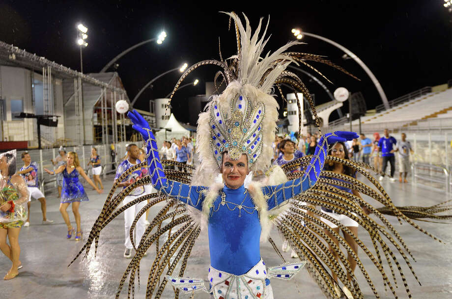 A Members of Samba School Academicos do Tatuape poses during the technical rehearsal in the preparations for Carnival 2013 at the Anhembi Sambadrome on February 02, 2013 in Sao Paulo, Brazil. Photo: News Free/CON / 2013 News Free