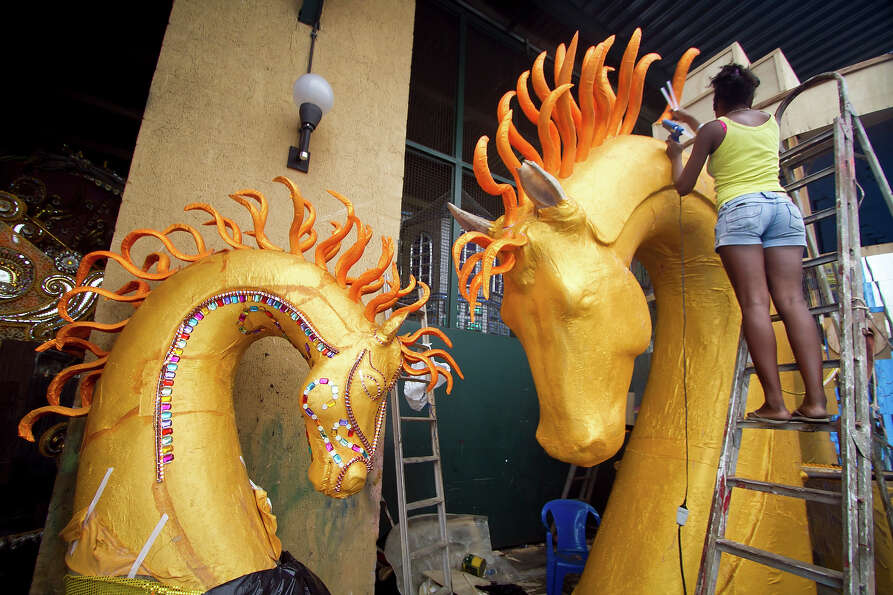 A woman works during the preparations for Brazilian Carnival 2013 on February 05, 2013 in Rio de Jan