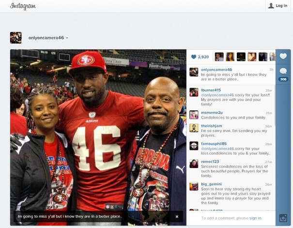 Instagram photo of Delanie Walker and his aunt and uncle, Alice and Bryan Young. Photo: Instagram