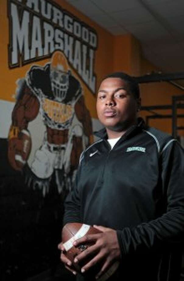 Fort Bend Marshall offensive lineman Darius Moore is taking his talents to Waco to play for Art Briles at Baylor. (James Nielsen / Chronicle)