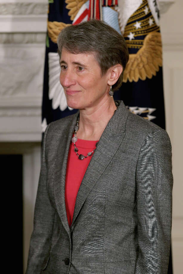 WASHINGTON, DC - FEBRUARY 06:  REI Chief Executive Officer Sally Jewell was nominated by President Barack Obama to be the next Secretary of the Interior in the State Dining Room of the White House February 6, 2013 in Washington, DC. Jewell has been nominated to replace outgoing Interior Secretary Ken Salazar. Photo: Chip Somodevilla, Getty Images / 2013 Getty Images