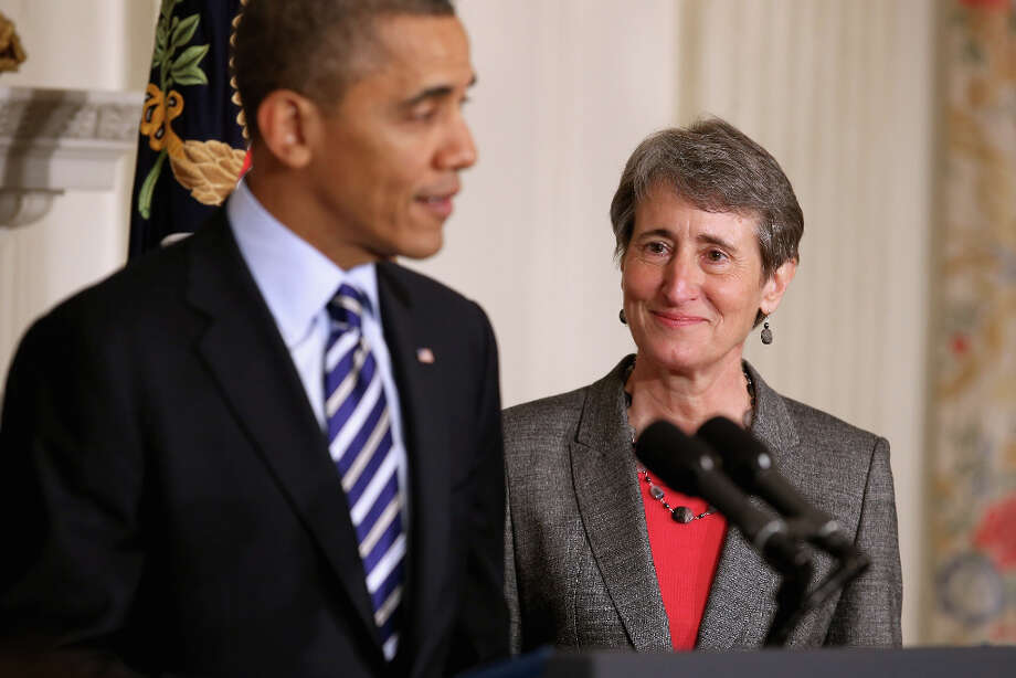 WASHINGTON, DC - FEBRUARY 06:  U.S. President Barack Obama introduces REI Chief Executive Officer Sally Jewell as the next nominee to be Secretary of the Interior in the State Dining Room of the White House February 6, 2013 in Washington, DC. Jewell has been nominated to replace outgoing Interior Secretary Ken Salazar. Photo: Chip Somodevilla, Getty Images / 2013 Getty Images