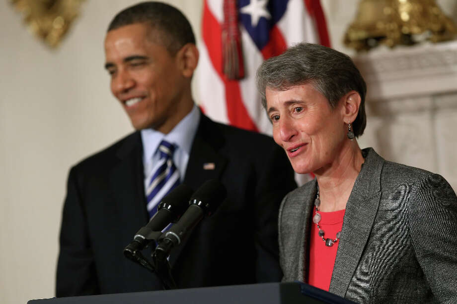WASHINGTON, DC - FEBRUARY 06:  REI Chief Executive Officer Sally Jewell (R) delivers remarks after being nominated by President Barack Obama to be the next Secretary of the Interior in the State Dining Room of the White House February 6, 2013 in Washington, DC. Jewell has been nominated to replace outgoing Interior Secretary Ken Salazar. Photo: Chip Somodevilla, Getty Images / 2013 Getty Images