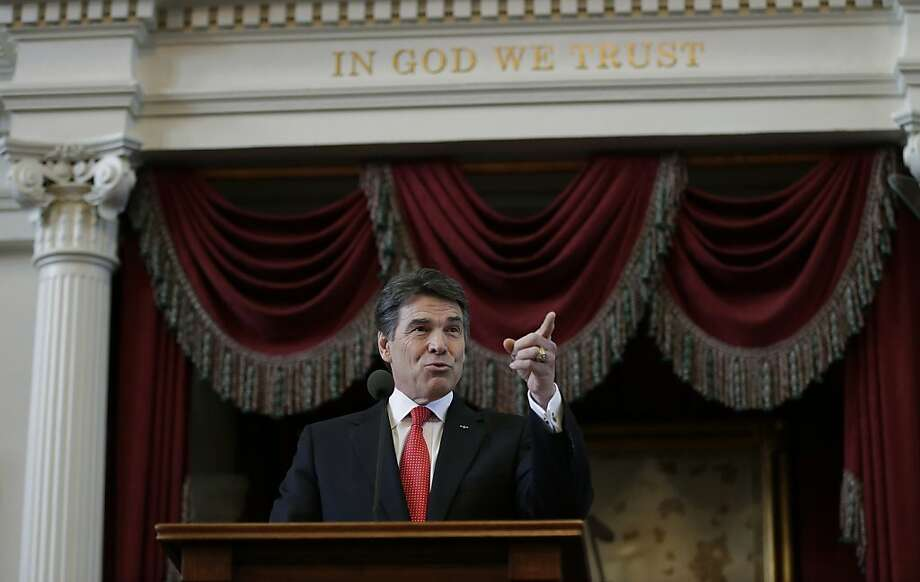 "Texas Gov. Rick Perry, in his State of the State address last month, extols his state's business climate. In a series of radio spots, he says building a business in California is ""next to impossible."" Photo: Eric Gay, Associated Press"